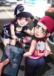 2girls ashley ass big_ass blue_eyes blushing braces collar cute fiona goth gothic hat headgear jack_skellington multiple_girls nightmare_before_christmas pink_eyes pokemon pokemon_go shorts skeleton skull therealshadman_(artist) tongue yoga_pants