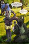 1girl 5_fingers anthro ass blue_eyes canine clothed clothing cum day detailed_background duo english_text eyelashes fur furry grey_fur grey_nose inner_ear_fluff kneel male mammal masturbation outside penis phone pink_eyes recording smile standing striped_fur stripes text tril-mizzrim white_stripes wolf