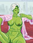 1girl 2016 abs breasts closed_eyes coffee green_hair green_skin marvel mister_d muscle nipples nude robe she-hulk shiny shiny_skin towel