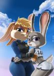 1girl 2016 anthro blonde_hair blue_eyes buckteeth clothed clothing cloud crossover disney duo eyelashes eyeshadow fur furry grey_fur hair half-closed_eyes high_res judy_hopps lagomorph lola_bunny looking_at_viewer looking_back looney_tunes makeup mammal mr-shin open_mouth police_uniform purple_eyes rabbit sky teeth uniform warner_brothers zootopia