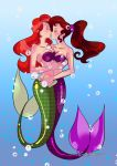 2girls art blush breasts closed_eyes disney hair hercules hugging incipient_kiss long_hair love megara mermaid multiple_girls mutual_yuri princess_ariel pronon1990 pronon1990_(artist) red_hair the_little_mermaid yuri