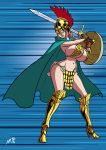 axel-rosered big_breasts breasts gladiator one_piece rebecca_(one_piece) shield sword weapon