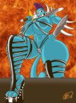 1girl 2016 abs anthro biceps big_breasts breasts cartoon_network cat clothed clothing feline footwear furry high_heels krocialblack mammal mature_female melee_weapon mohawk muscular muscular_female navel nicole_watterson nipples skimpy smile spike_collar spikes sword the_amazing_world_of_gumball warrior weapon