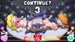 2girls ayvuir_blue big_breasts blonde_hair blue_eyes blush bondage boots breasts brown_hair crown dildo earrings female_orgasm gagged garter_belt gloves hair latex lingerie midriff nipples nude princess_daisy princess_peach rope small_breasts stockings super_mario_bros. sweat vaginal_penetration yuri