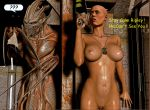 1girl 3d alien alien_(franchise) aliens boobs breasts brown_eyes dogtags ellen_ripley female games human legs monster nipples nude posing pussy render sigourney_weaver tits video_games xnalara xps