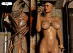 1girl 3d alien boobs breasts brown_eyes dogtags ellen_ripley games hot human legs nipples nude posing pussy render sexy sexy_legs sigourney_weaver solo_female tits video_games xnalara xps