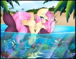 1girl animal_ears ass blue_eyes blush cute fluttershy friendship_is_magic hot long_hair looking_at_viewer looking_back my_little_pony pink_hair pussy sexy smile tail water wings