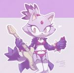 1girl 1girl 2016 absurd_res anthro blaze_the_cat cat feline furry guitar high_res mammal musical_instrument nancher sega smile