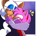 1girl 2014 amy_rose anthro bat big_breasts blush breasts cleavage clothed clothing duo furry hedgehog hugging mammal rouge_the_bat sega smile supersonicrulaa