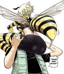 ass blonde_hair english_text monster_girl simple_background text wasp white_background