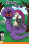 1girl ambiguous_gender arbok big_breasts blush breasts clothed clothing comic cover_art duo english_text feral hair human jessie_(team_rocket) legwear mammal nintendo pokemon rainbow-flyer red_hair reptile scalie sitting skimpy snake stockings sweat text tight_clothing video_games
