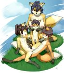 1girl 2016 anthro aogami armpits big_breasts black_hair blue_eyes breasts brother brother_and_sister brown_eyes brown_hair canine chest_tuft claws clitoris cloud cowgirl_position crossed_legs dipstick_tail erection flat_chested fox fur furry gloves_(marking) grass group hair highres incest male male/female mammal markings mature_female milf multicolored_tail navel nipples on_top open_mouth orange_eyes outside parent penetration penis pigtails pussy reclining sex sibling signature sister sitting smile socks_(marking) spread_legs spreading standing testicles tongue tongue_out tuft vaginal vaginal_penetration
