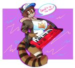 1girl anthro babynarwhal big_breasts breasts brown_fur cartoon_network crossgender english_text fur furry keyboard mammal raccoon regular_show rigby_(regular_show) simple_background text