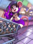 1girl 1girl 2016 anthro big_breasts breasts buckteeth clothing ear_piercing eyewear food furry glasses inside mammal midriff mouse navel open_mouth panties panty_shot piercing purple_eyes rodent shopping_cart supermarket teeth thefuckingdevil thick_thighs tongue tongue_piercing under_boob underwear wide_hips