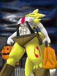 1girl 1girl 2016 3_fingers abs anthro armpits black_sclera blue_eyes breasts bucket cosplay digimon dipstick_tail fur furry halloween holding_object holidays low-angle_view multicolored_tail navel outside portrait renamon smoaer three-quarter_portrait under_boob yellow_fur