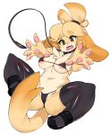 1girl animal_crossing anthro areola blush breasts brown_eyes canine clothed clothing collar dog furry isabelle_(animal_crossing) leash legwear mammal nintendo open_mouth simple_background skimpy slugbox stockings video_games white_background