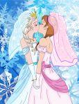 anna big_breasts breasts cleavage disney elsa frozen_(movie) incest kissing luckyladyxandra sisters wedding wedding_dress wedding_veil yuri