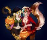 1girl anthro blue_eyes canine duo feline fox furry gradie green_eyes halloween holidays looking_at_viewer mammal siraviena wolf