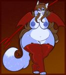 1girl 1girl anthro big_breasts blue_areola blue_fur blue_nipples blush breasts canine chest_tuft clothing cosplay dog ear_tuft fur furry gradient_background green_eyes hair halloween holidays huge_breasts huge_thighs legwear long_hair long_tail mammal navel nipples overweight pussy simple_background smile socks tehbuttercookie tuft voluptuous wide_hips
