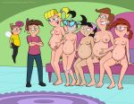 angry big_breasts black_hair blonde_hair breasts brown_hair clothed female hairless_pussy happy human incest indoors living_room male mostly_nude nipples nude pregnant pubic_hair pussy pussy_hair sfan sfan_(artist) short_hair sitting smile standing the_fairly_oddparents timmy's_mom timmy_turner tootie trixie_tang veronica_star vicky wanda