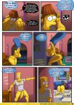 bart_simpson blue_hair comic embarrassed kogeikun_(artist) living_room marge_simpson sexy_sleep_walking the_simpsons yellow_skin