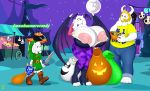 1girl 2016 absurd_res anjuneko anthro areola asgore_dreemurr asriel_dreemurr badgerben big_breasts boss_monster breasts caprine darkstalkers erect_nipples family father father_and_son full_moon furry goat group halloween highres holidays huge_breasts hyper hyper_breasts link male mammal mature_female melee_weapon milf moon morrigan_aensland mother_and_son night nintendo nipples parent shield son sword the_legend_of_zelda toriel undertale video_games weapon