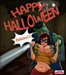 big_breasts breasts halloween nipples scooby-doo skirt tit_grab velma_dinkley