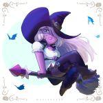 1girl alien amethyst bat boots broom broomstick cosplay flying garter_belt halloween hat long_hair purple_eyes purple_hair purple_skin sexy steven_universe witch witch_hat