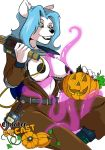 1girl 1girl 2016 alpha_channel anthro big_breasts blue_hair breasts canine consentacles erect_nipples fur furry ghostbusters green_eyes hair halloween holidays mammal nipples tentacle white_fur yawg