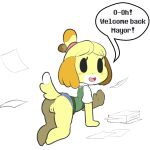 1girl 1girl 2016 all_fours animal_crossing anthro blush bottomless canine clothed clothing digital_media_(artwork) dog furry hairband isabelle_(animal_crossing) itsunknownanon looking_at_viewer mammal nintendo presenting pussy simple_background text upskirt video_games