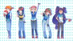 5_girls 5girls :d :o arm_behind_back artwork baseball_cap big_breasts blue_eyes blue_hair breasts brown_eyes brown_hair cosplay dark_skin dawn denim fanart fingerless_gloves frown gloves green_eyes haruka_(pokemon) hat hikari_(pokemon) holding holding_hat iris iris_(pokemon) jacket jeans kasumi_(pokemon) kawashimo kawashimo_(artist) lean lean_forward leaning_forward long_hair may misty multiple_girls one_eye_closed open_mouth orange_hair pants pokemon pokemon_xy polka_dot polka_dot_background purple_hair salute satoshi_(pokemon) satoshi_(pokemon)_(classic) satoshi_(pokemon)_(cosplay) serena serena_(pokemon) short_hair side_ponytail smile very_long_hair vest wink