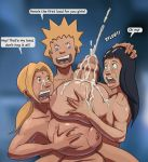 big_breasts big_penis black_hair blonde_hair blue_eyes breasts brown_eyes cum cum_on_face cum_on_hair dark_hair ejaculation hair hinata_hyuuga huge_breasts huge_penis hyper_breasts hyper_penis monster_cock naruto naruto_uzumaki paizuri penis shiin text titfuck_tower tsunade