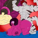 bed big_breasts big_nipples blush breasts cum garnet lewd muscular nude pleasure sex steven_universe x_ray zeromccall