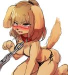 1girl 1girl angry anthro blush brown_fur brown_hair canine clothed clothing dog eyewear fur furry glasses green_eyes hair kemono ksyaro mammal topless