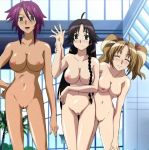 3girls :d ahoge anime arm babe bare_arms bare_legs big_breasts black_hair braid breasts brown_eyes chrome_shelled_regios cleavage closed_eyes dark_skin embarrassed friends green_eyes hair hand_on_hip hot koukaku_no_regios leaning legs light_brown_hair long_hair looking_at_viewer medium_breasts meishen_trinden mifi_lotten multiple_girls naruki_gerni navel nipples nude purple_hair pussy sexy shaved_pussy shiny shiny_skin short_hair shy smile standing twin_tails uncensored wrist_grab
