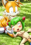 "big_breasts big_penis breasts cosmo_the_seedrian cuckold female male miles_""tails""_prower multiple_tails nipples nude penis pregnant seedrian sonic_(series) sonic_the_hedgehog tail"