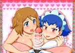 2girls ash_ketchum big_breasts breasts double_blowjob double_fellatio fellatio first_person_view gouguru heart icing lick licking looking_at_viewer miette millefeui_(pokemon) oral penis pokemon pokemon_xy pov satoshi_(pokemon) serena serena_(pokemon) threesome