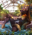 2016 anthro anubian_jackal big_penis black_fur bracelet breasts canine deity detailed_background dickgirl dreadlocks fur furry grin intersex jackal jewelry leaves mammal nipples nude penis photo_background sorafoxyteils swimming_pool tail_ring testicles vein veiny_penis water yellow_lipstick