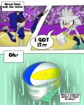 anthro clothing comic dialogue furry gloves hedgehog male mammal metal_sonic sandunky sega silver_the_hedgehog sport text video_games volleyball yellow_eyes