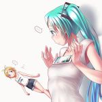 ... 1girl aqua_eyes aqua_hair aqua_nails bangs breast_conscious breasts cellphone collarbone covered_nipples earrings fingernails from_side hair_ornament hands_up hatsune_miku jewelry kagamine_rin light_frown long_hair looking_down meme nail_polish phone see-through shirt sleeveless sleeveless_shirt small smartphone solo stud_earrings tank_top tawawa_challenge twintails twitter vocaloid white_background white_shirt wokada