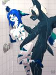 1girl anthro anthro_on_anthro bat blue_nipples blush breasts canine closed_eyes from_behind_position furry jewelry male male/female mammal nightswing nipples nude open_mouth penetration penis pinned reach_around roadiesky sex shower shower_sex twilon water wet wings wolf