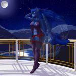 1girl 1girl 2016 abs anthro balcony big_breasts bottomless breasts clothed clothing constellation equine feathered_wings feathers friendship_is_magic full_moon furry garter_belt garter_straps high_res horn lake legwear lingerie looking_away mammal moon mountain my_little_pony navel negligee night nightgown nipples nude pabloracer princess_luna_(mlp) pussy red_underwear sheer_clothing shooting_star smile star stockings teeth translucent transparent_clothing windswept_hair winged_unicorn wings