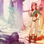 axe cleavage freckles gravity_falls krash_(artist) non-nude outdooor red_hair short_shorts wendy_corduroy
