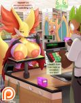 1girl 2016 anthro big_breasts breasts bulge charizard chespin clothing counter credit_card delphox dialogue english_text eyewear fox furry glasses inside lysergide market nintendo open_mouth pants pokémon public shirt shocked store text video_games wings