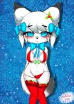 1girl 1girl 2016 anthro blush breasts canine chest_tuft chibi christmas clothed clothing digital_media_(artwork) eyelashes fox fur furry hair high_res holidays kemono legwear looking_at_viewer mammal milkteafox simple_background smile snowflake standing stockings tuft underwear white_fur