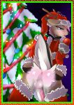 2016 anthro anus ass cervine christmas fluffy_trim furry girly holidays lights male mammal ornaments penis perineum reindeer santa_claus spreading testicles tinsel tree white_crest
