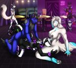2015 anthro big_breasts black_fur black_hair blue_fur blue_hair breasts cafe canine cat closed_eyes eliana-asato feline fellatio fur furry girly group group_sex hair herm intersex male male/male mammal nude oral orgy rubber sex short_hair skunk waiter white_fur white_hair wolf yellow_eyes