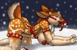 1girl 1girl all_fours anthro areola ass bdsm bondage bound breasts candy candy_cane cervine collar food fur furball furry gag looking_at_viewer mammal nipples nude orgasm pussy_juice reindeer side_boob snow tongue tongue_out