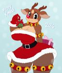 anthro antlers ass bell big_ass big_breasts breasts cervine christmas clothing dress furry gift gloves holidays horn mammal mistletoe plant red_nose reindeer rudolph sssonic2 thick_thighs wide_hips