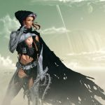 breasts cyborg green_eyes headgear lumiya miravi_(artist) red_hair scars star_wars torn_clothes whip